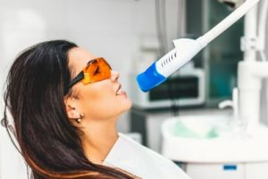 Woman getting Zoom teeth whitening