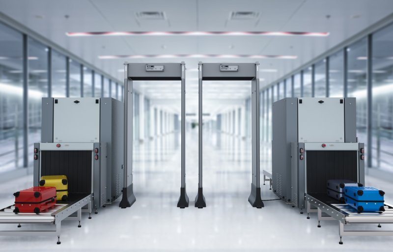Metal detectors at airport security checkpoint